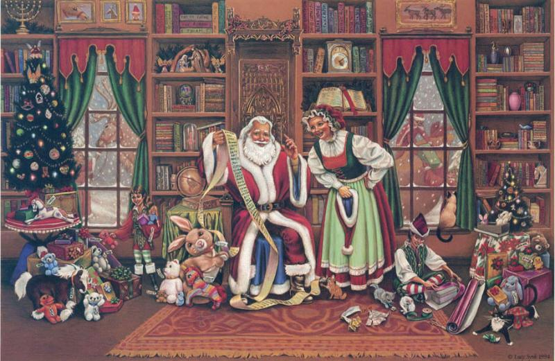 Checking it twice: Santa and Mrs Clause checking the list