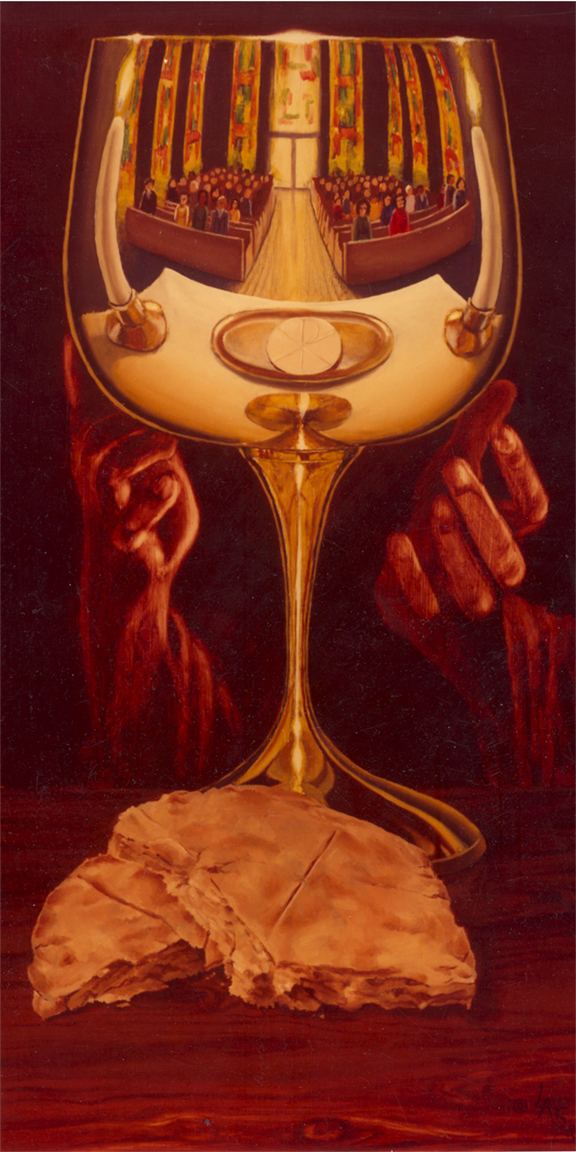 Remember Me: hands of Jesus,the bread and congregation reflected in the cup