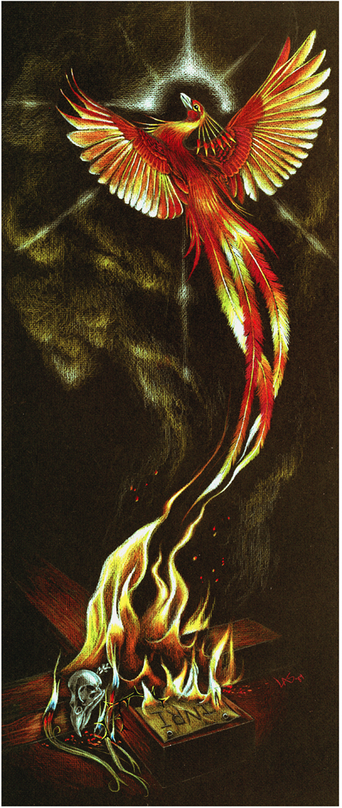Resurrection: Christ rising from death symbolized as a Phoenix rising from ashes