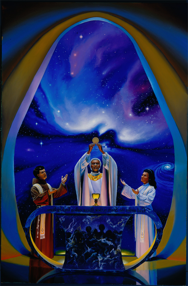 StarBase Chapel: three priests concelebrating Mass in the far future