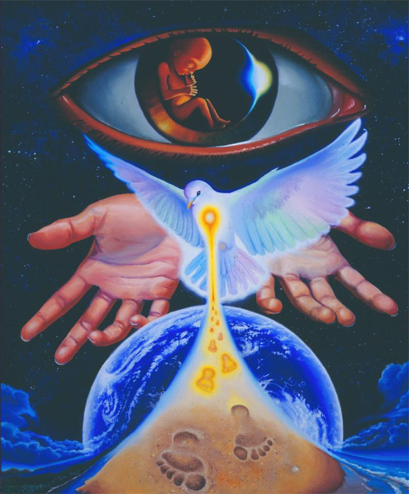 Trinity: the three persons of God using inclusive imagery. Dove, eyes, hands.