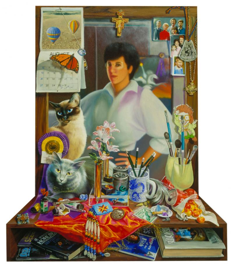 painted from life, this self-portrait includes interdimensional cats