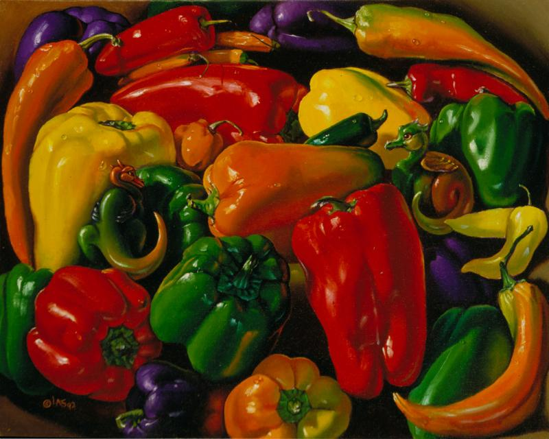 two tiny dragons hide in this pile of colorful peppers