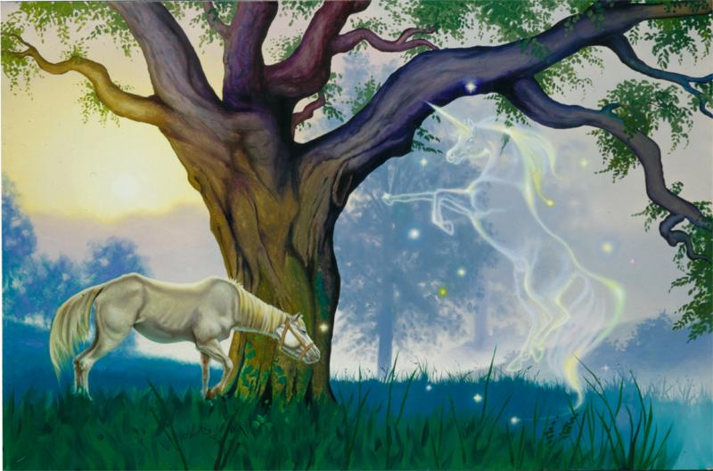 undeer a magic tree, an old horse has a dream come true