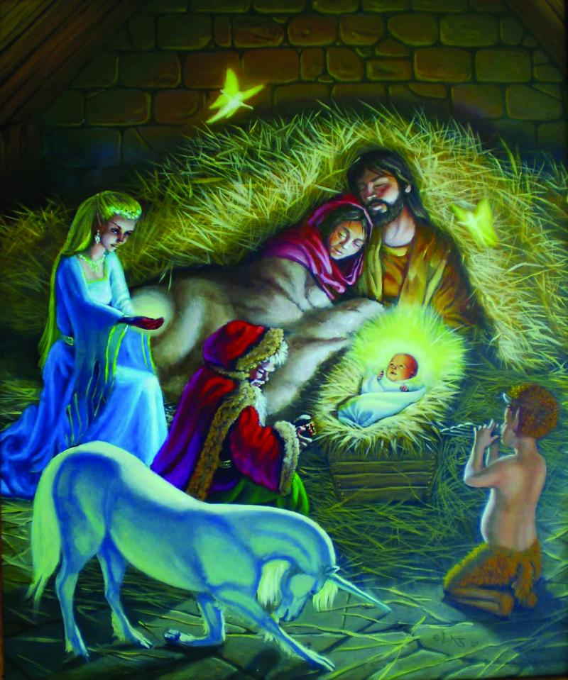 Unseen Magi: magical creatures coming to worship while Mary and Joseph sleep